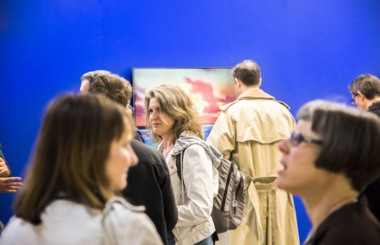 The crowd with Kate Mitchell's work. Photo: Kristina Shapranova.