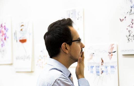 Sabin looking at Gosia Wlodarczak's work. Photo: Kristina Shapranova.