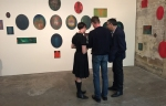Tracey Clement, Jon Cattapan and Domink Mersch with Jon's work. Photo: Peter Burgess.