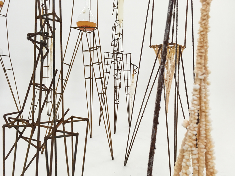 Tracey Clement, 'Metropolis Experiment,' 2016-17, rusty steel, salt, laboratory glass, cotton, dimensions variable (max height 200cm). Photo T. Clement.