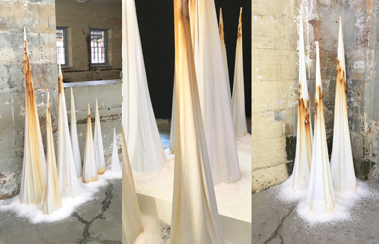 """Tracey Clement, """"equium tumulus sali multiplex,"""" 2018, salt, cotton, mild steel, multiple locations throughout the gallery, dimensions variable, max height 180 cm."""